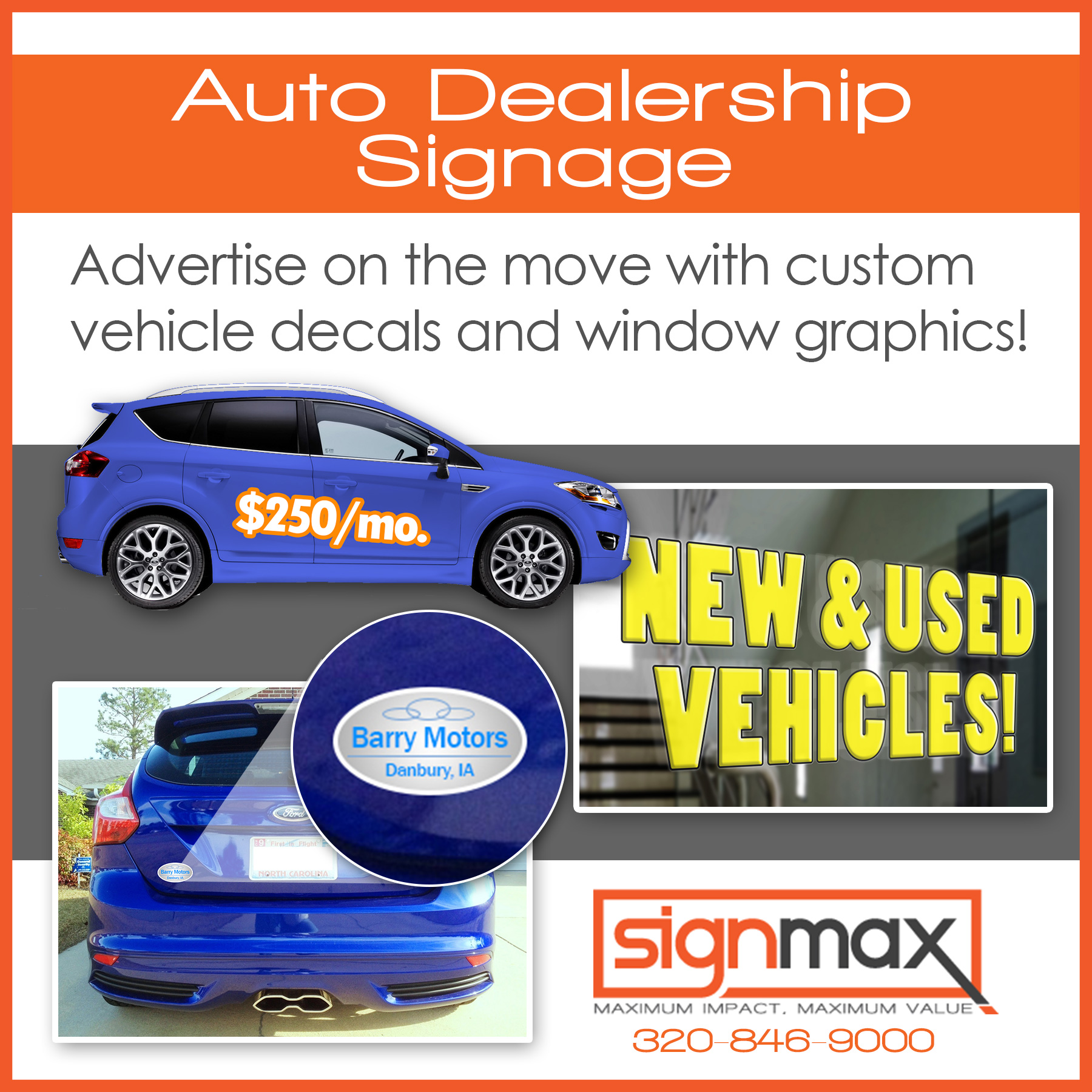 Auto Dealership Decals and Window Graphics | Signmax.com
