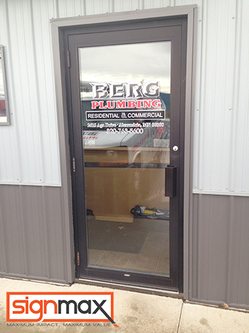 Berg's Plumbing Vinyl Window Decals | Signmax.com