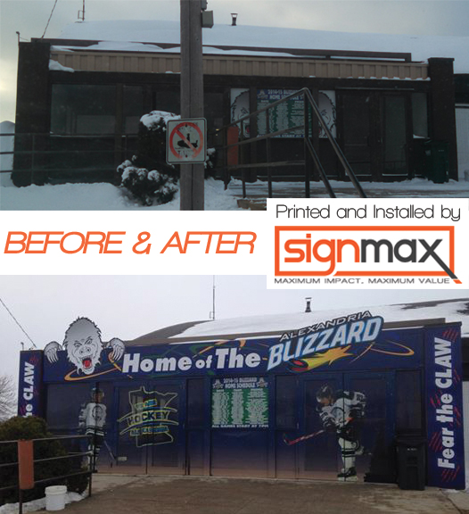 Alexandria Blizzard Entrance - Before and After Picture | Signmax