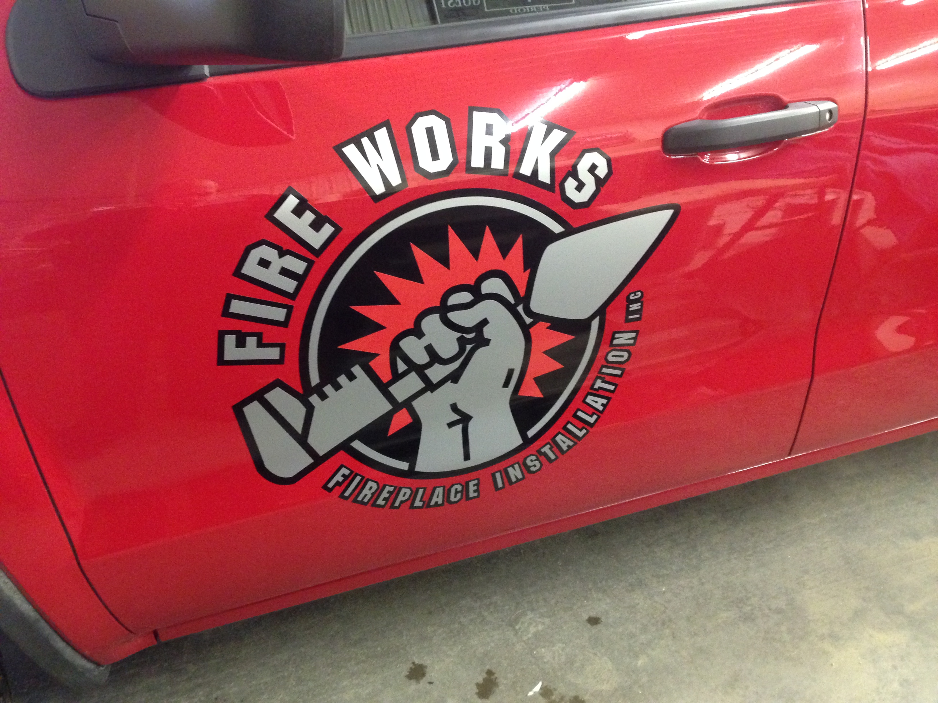 Fire Works Fireplace Installation Car Decals | Signmax.com