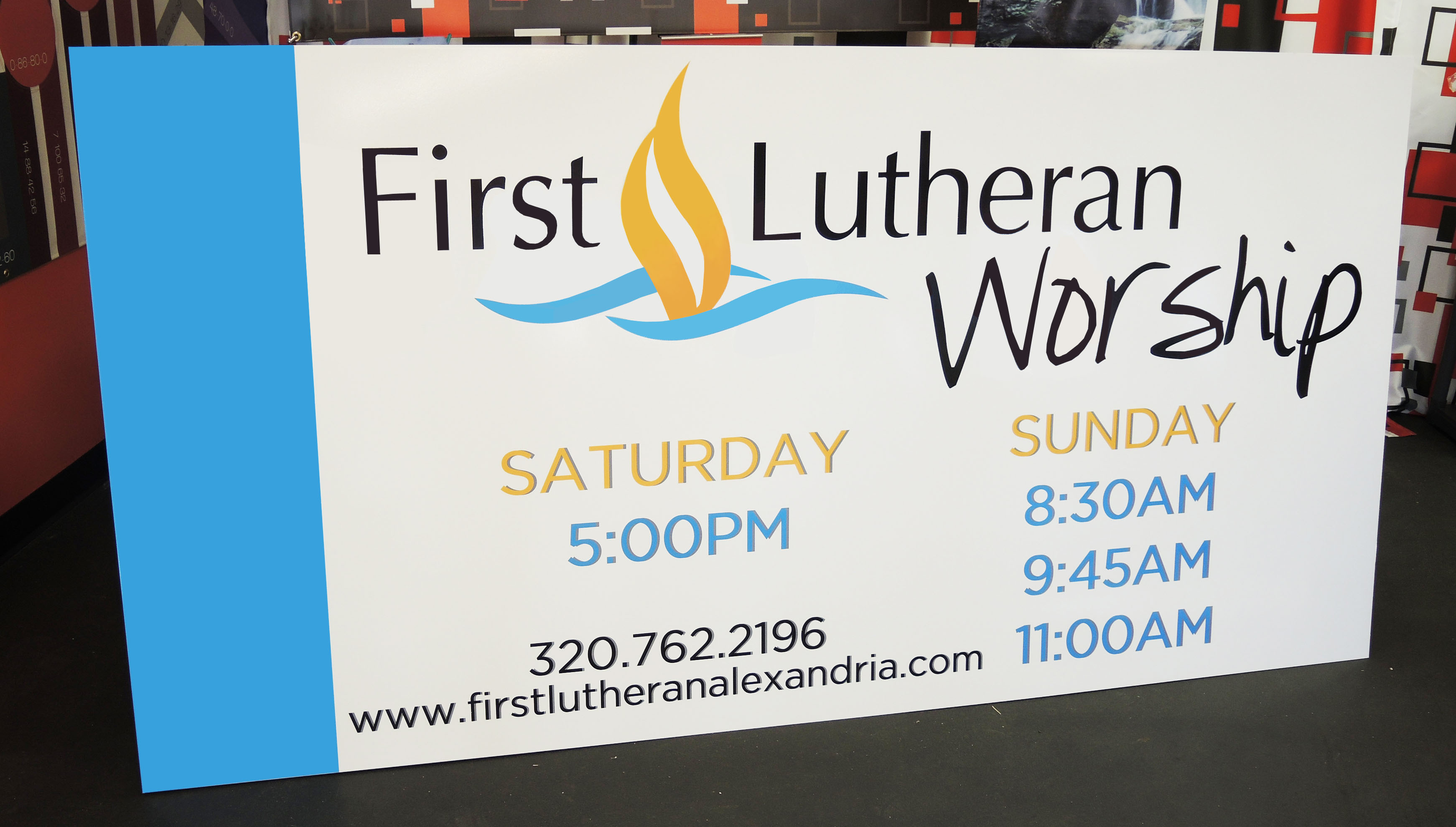 First Lutheran Worship Polymetal Sign | Signmax.com