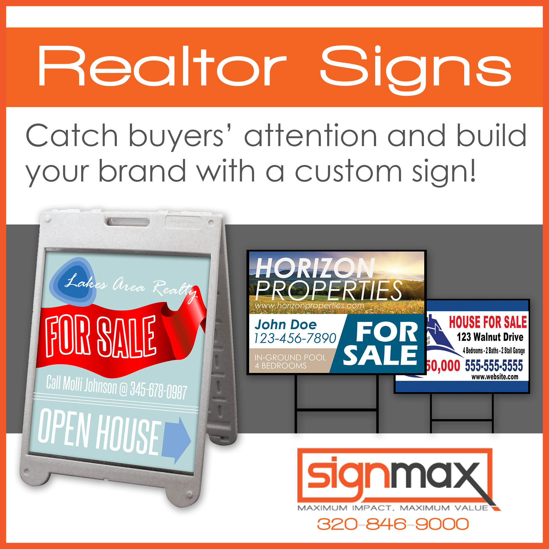 Realtor Yard Signs and Displays | Signmax.com